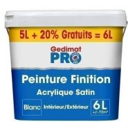 PEINTURE DE FINITION GEDIMAT PRO ACRYLIQUE MAT 5L+20% GRATUIT