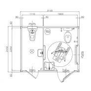 Monobloc wc pmr + wc simple raccordables 313cm x 240cm x 247cm
