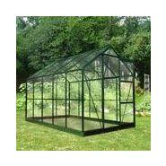 Embase pour serre de jardin 5m² en aluminium laqué vert et verre ...