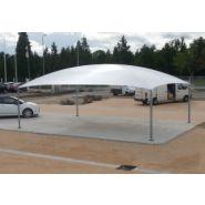 Abri voiture autoportant Bo / structure en acier / toiture arrondie en toile