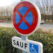 W0093 - Panneau place handicapé - Signalétique biz - Dimension 80*40 mm