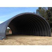 Tunnel de stockage Monastère / ouvert / structure en acier / couverture en PVC / ancrage au sol avec platine / 7 x 6 x 2.79 m