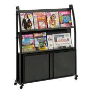 Présentoir mobile pour brochure black-line® avec coffre et 2 tablette inclinée - noir