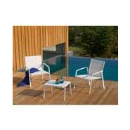 Salon de jardin alu textilène blanc sparta swim fauteuils et canapé ...