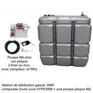 STATION GASOIL 2000 L AVEC POMPE 60L/MIN 230 V - CFPE2000-PP60L