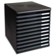 Exacompta module de classement 10 tiroirs ouverts, format a4 +. dim: l28,8 x h32 x p35 cm. coloris noir
