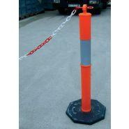 Ppvcret - barrière à chaîne poteaux pvc rétroréfléchissants - signals - h 1100 mm  Ø 100 mm