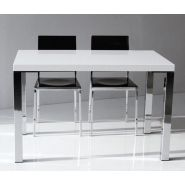 Table repas neon design blanc brillant 130 cm