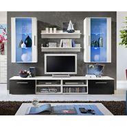 ENSEMBLE MEUBLE TV MURAL DESIGN GALINO VII WHITE BLANC & NOIR