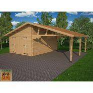 Garage avec carport bois Granvillier 44 / 44 m² / toit double pente / porte battante / 8 x 5.50 x 3.31 m