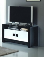 Meuble tv design laqué noir et blanc dali