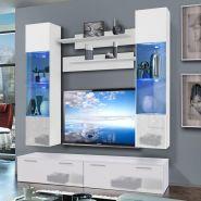 Meuble tv mural ledge vi twin 200cm blanc - paris prix