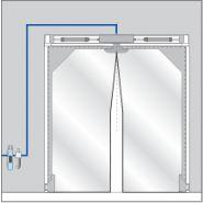Porte souple battante pneumatique / transparente / semi-automatique