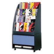 Paperflow réserve de rangement pour présentoir accueil coloris noir/bleu, 33,5x71,7x38