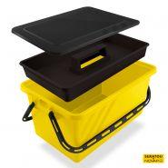 Boite de rangement 24 l jaune - couvercle noir - seratou - 5910160