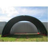 Tunnel de stockage Cathédrale S / ouvert / structure en acier / couverture en PVC / ancrage au sol avec platine / 12 x 5 x 5.50 m