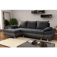 Canapé d'angle convertible contemporain en tissu anthracite/taupe thibaut