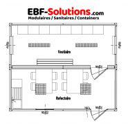 Base-vie chantier - réfectoire - vestiaires - 6.00m x 4.88m