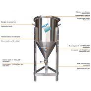 Fermbeer TC - Réservoir de stockage industriel - Incon - Fond conique 60° - Poignée en inox