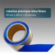 Ruban de chantier - rubalise - plastique 50mm*100m - bleu/blanc