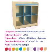 MEUBLE DE DÉSHABILLAGE 6 CASIERS SANS PORTES