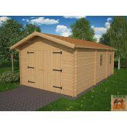 Garage simple bois Platane 30 / 30 m² / toit double pente / porte battante / 3.98 x 7.50 x 2.84 m