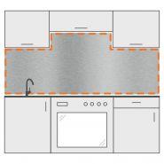 Crédence inox brossé - DVAI - Avec 2 découpes - Épaisseur : 1,5 mm
