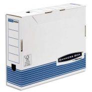 BANKERS BOX BOÎTE ARCHIVES DOS 8CM SYSTEM, MONTAGE AUTOMATIQUE, CARTON RECYCLÉ BLANC/BLEU