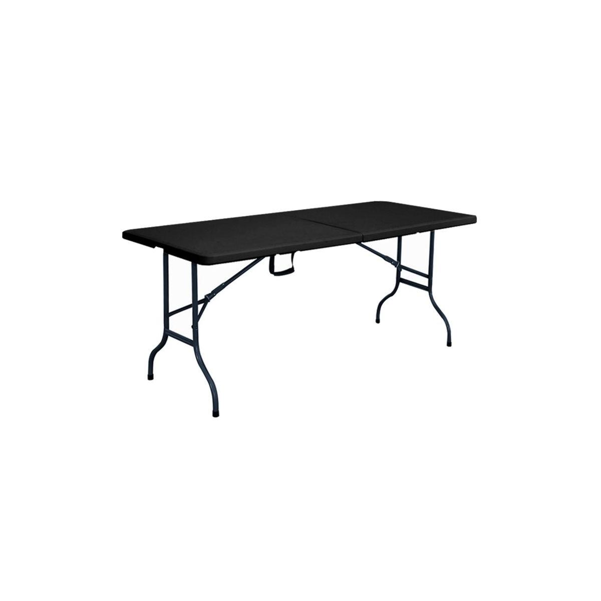 Table noire et chaises pliantes noires 8 places 180cm pehd