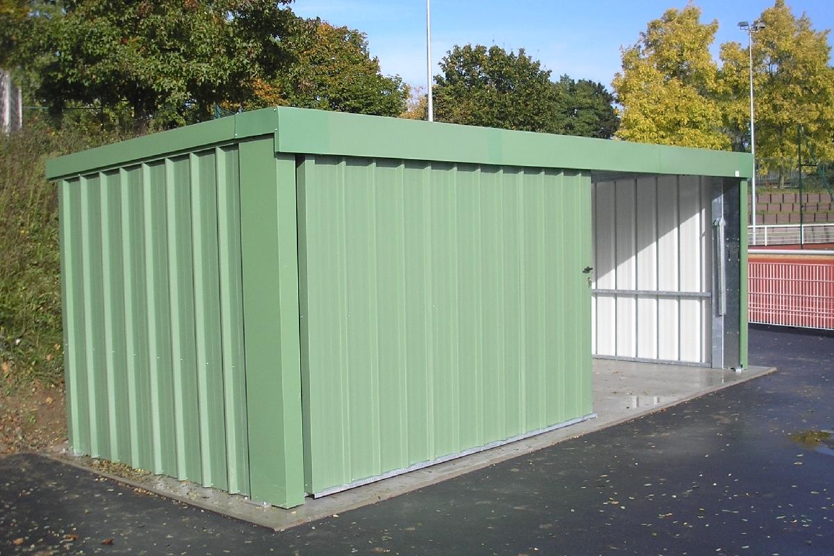 garage m tal s rie m toit plat porte sectionnelle vert. Black Bedroom Furniture Sets. Home Design Ideas