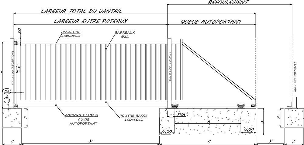 portail coulissant autoportant sonora simple vantail. Black Bedroom Furniture Sets. Home Design Ideas