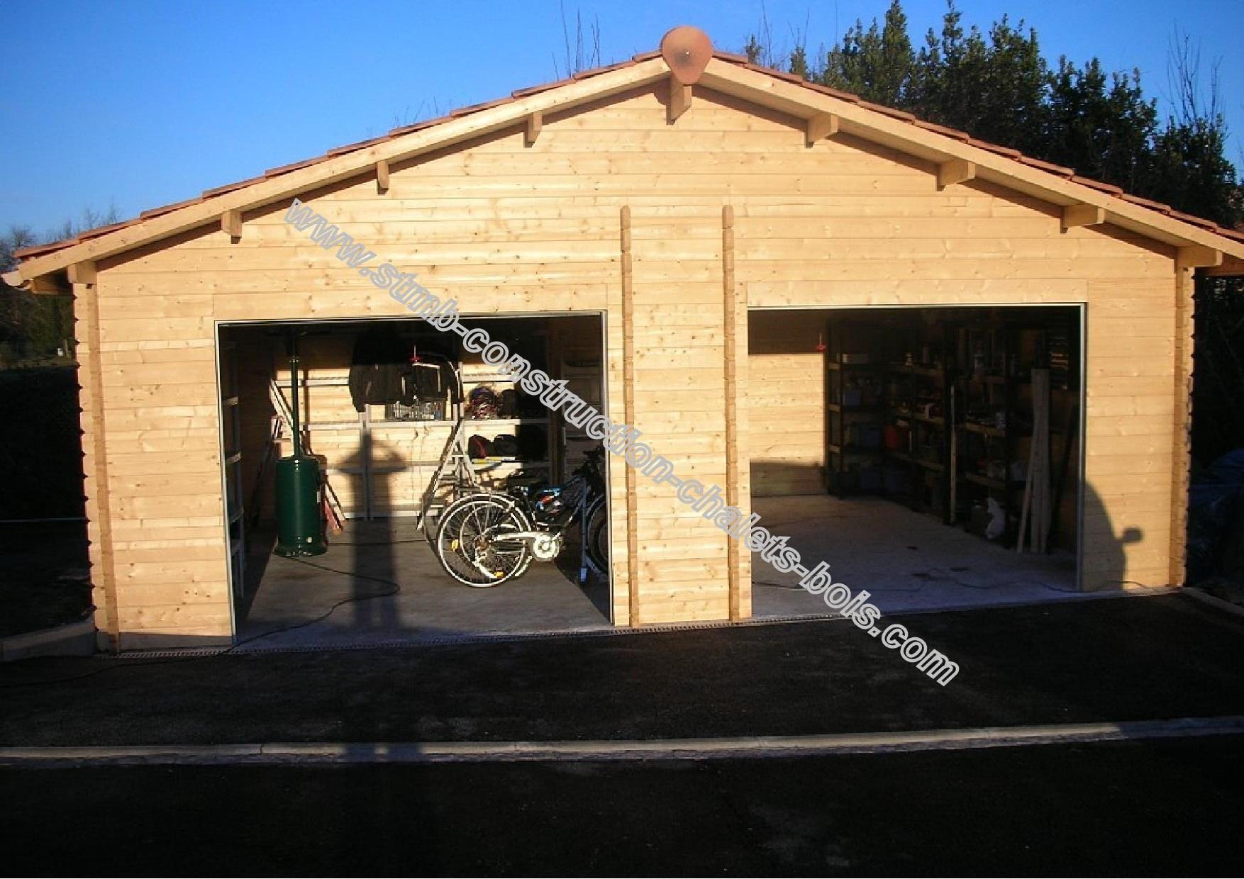 Garage Double Bois Twix 3850 Toit Double Pente Porte Battante