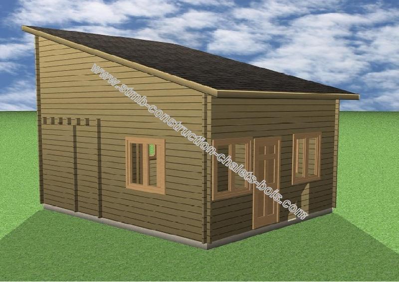 Chalet en bois plain-pied Albertville / madrier 44 mm / 36 m² / toit monopente