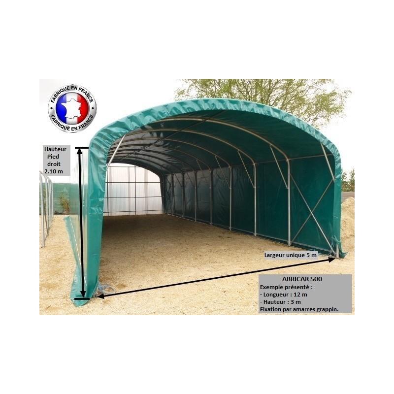 Abri camping car semi-fermé / structure en acier / toiture arrondie