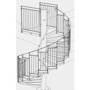 Escalier hélicoïdal Evolution - Constructions Industrielles du Rhone - Diamètre du fût central 219.7 mm - Diamètre 1400 à 3800 mm