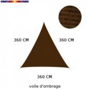 Voile triangle 360 cm chataigne - alex stores et parasols