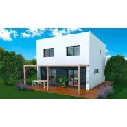 Maison à ossature en bois à étages koob 4 / surface habitable 93 m² / surface brute 122 m² / 4 pièces / toit plat