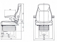 Siege tracteur suspension mecanique etroite mgv84 / c1