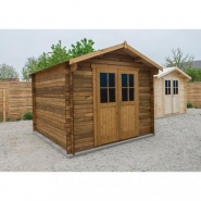 3365 - abri en bois massif 9m² plus 28mm traité teinté marron gardy shelter