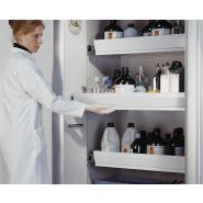 218360w - armoire coupe-feu 30 minutes - denios - grise, charn. à droite, 4 bacs-tiroirs