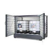 Box de stockage solidmaxx type c 2.1 - conteneur de stockage pour produits dangereux - denios - galvanisé, pour 8 fûts de 200 litres ou 2 cuves de 1000 litres