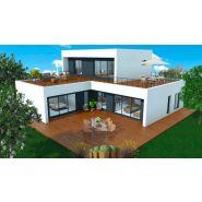 Maison à ossature en bois à étages noov 6 / surface habitable 187 m² / surface brute 247 m² / 6 pièces / toit plat