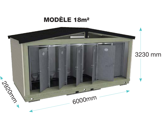 Sanitaires publics extérieurs ouessant plus fermé / 2 wc / 2 douches / 6 cabines / 6 x 2.92 x 3.23 m