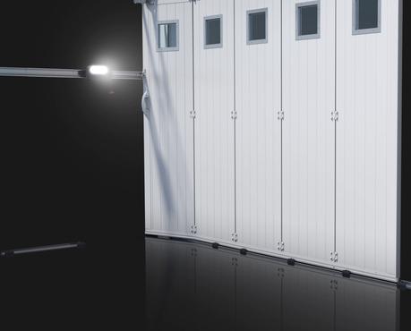 Porte de garage sectionnelle maestro volution motoris e coulissante lat rale avec - Porte de garage laterale motorisee avec portillon ...