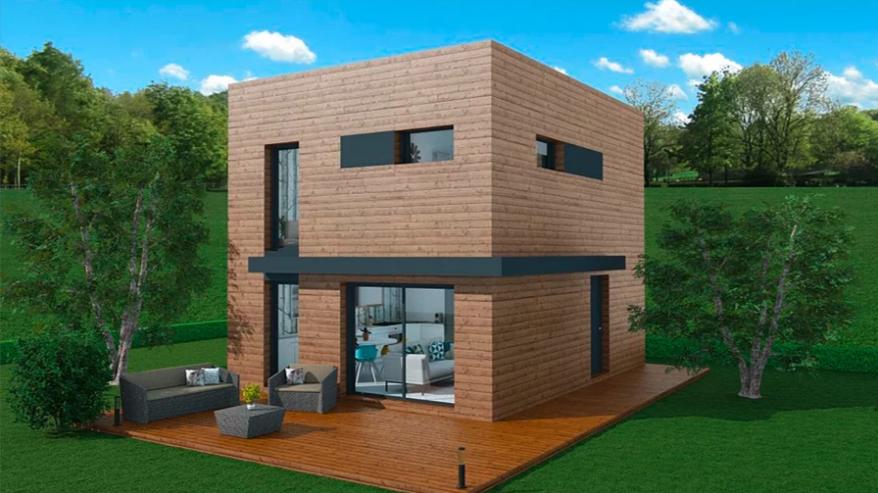 Maison à ossature en bois à étages cool 3 / surface habitable 68 m² / surface brute 90 m² / 3 pièces / toit plat
