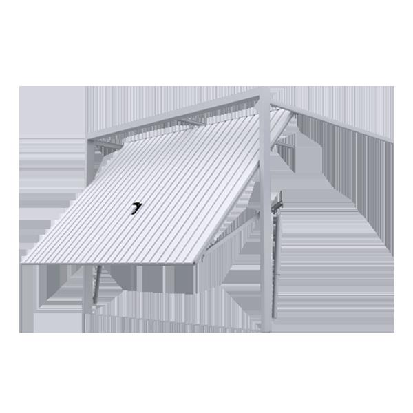 Porte de garage basculante d bordante en acier avec hublot avec portillon avec rail de - Porte de garage basculante debordante ...