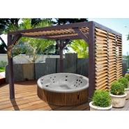 2002 - pergola en bois avec ventelles amovibles sur toiture + 1 côté 348x310x232cm veneto