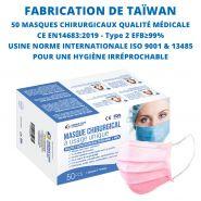 Masque taïwan premium chirurgical - qualité médicale - norme ce divers coloris