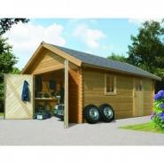 43545 - garage en bois certifié 20,78m² - madriers 40mm - karibu
