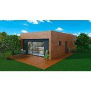 Maison à ossature en bois plain-pied wood 3 / surface habitable 63 m² / surface brute 77 m² / 3 pièces / toit plat